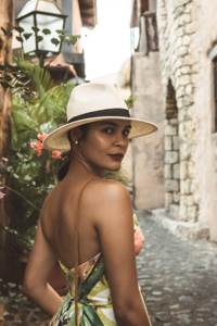 girl posing in the alleys of altos de chavon dominican republic